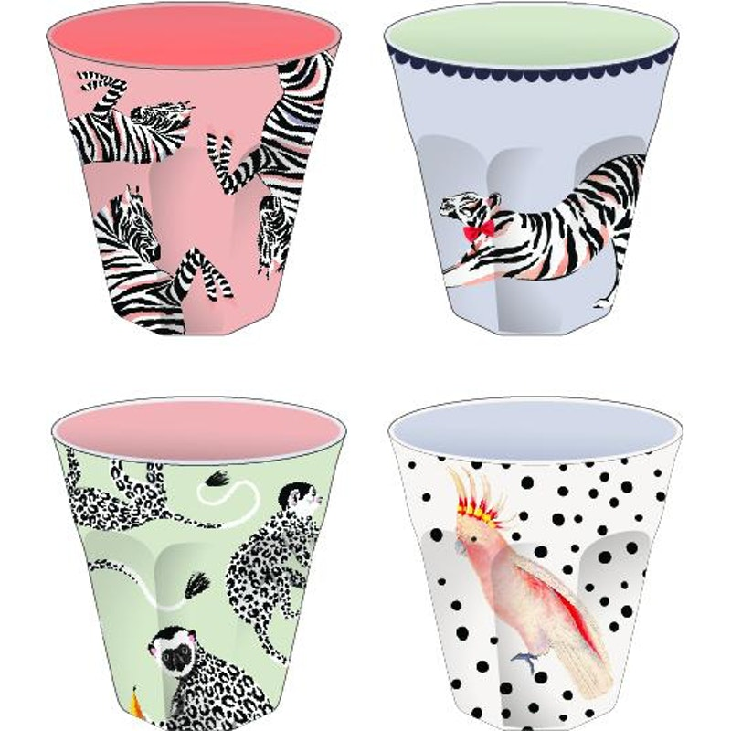 Safari Picknick Bekers (set van 4)