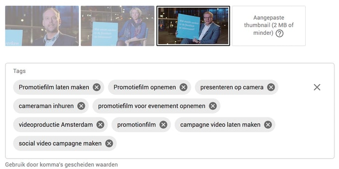 Voorbeeld video tags