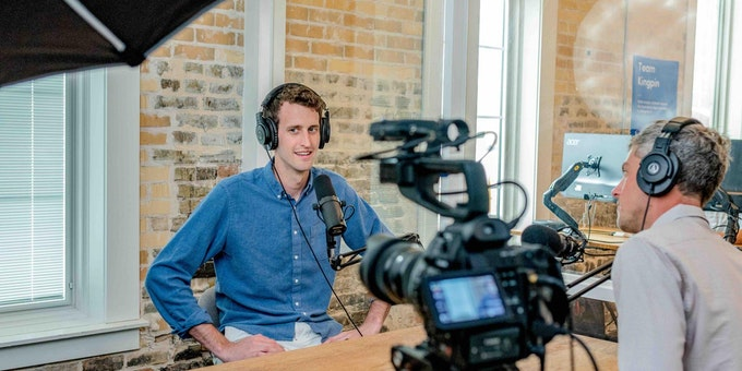 Opnames van een podcast video